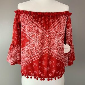 NWT Tularosa off the shoulder bell sleeve top